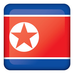 Icon representing square button of North Korea. Ideal for catalogs of institutional materials and geography
