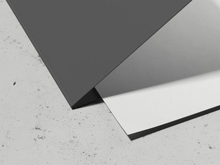 Opened leaflet and paper sheet on light grey background, 3d rendering