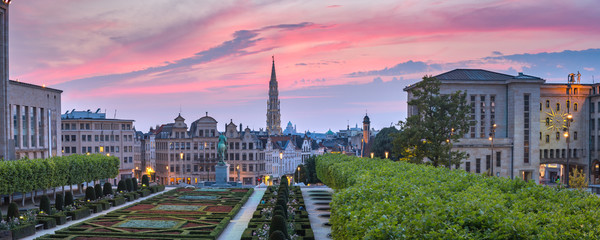 Panoramic view of Brussels City Hall and Mont des Arts area at sunset in Belgium, Brussels.