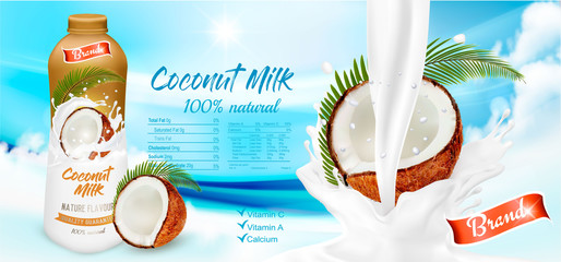 Coconut milk with splashing liquid and pieces isolated on blue abstract background with cloud. Advertisment design template. Vector