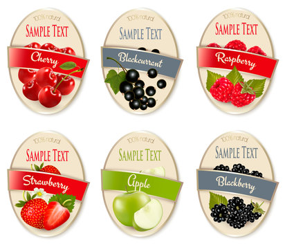 Set of labels of berries and fruit. Cherry, blackberry, raspberry, strawberry, apple, black currant. Vector.