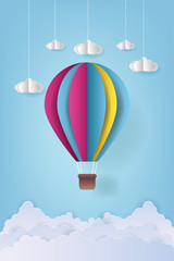 Vector Illustration Origami Colorful Hot Air Balloon and Cloud. paper art and craft style. Hot air balloon wallpaper.