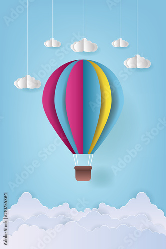 Vector Illustration Origami Colorful Hot Air Balloon And Cloud