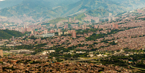 A view from high up over Medellin Colombia.