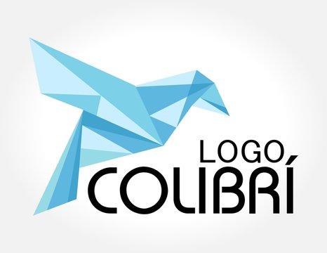 logotipo azul origami colibrí