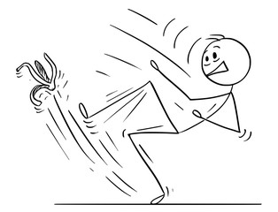 Cartoon stick drawing conceptual illustration of man or businessman slipping on banana peel.