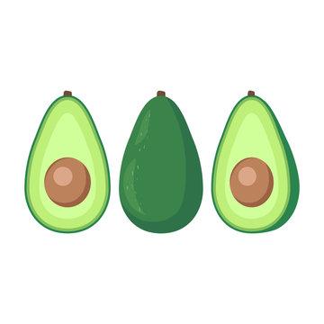Avocado cartoon, simple design. Avocados icon clipart. Sliced avocado.