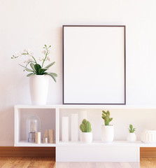 Mock up poster frame close-up on shelf with flowers,3d render