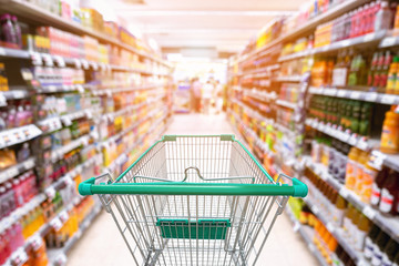 Supermarket interior and storage shelf., Shopping concept
