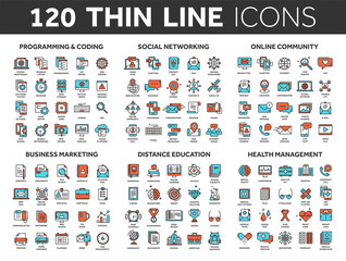 Programming,coding. Data management. Social network, computing. Information. Internet connection. Business marketing. School and education. Medicine. Thin line blue and red icons set. Stroke.