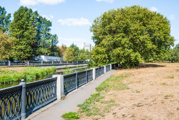 Russia, Moscow. The Yauza river in Rostokino district. A picturesque riverside, embankment