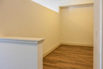 empty bedroom with half wall