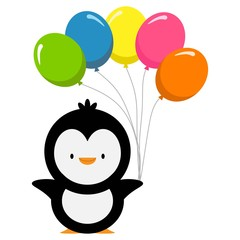penguin with a colorful air balloons