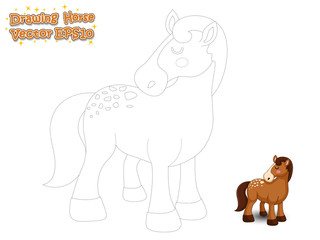 Drawing and Paint Cute Horse Cartoon . Educational Game for Kids. Vector Illustration