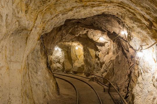 Inside Hazel-Atlas Mine in Black Diamond Regional Preserve. Solano County, California, USA.