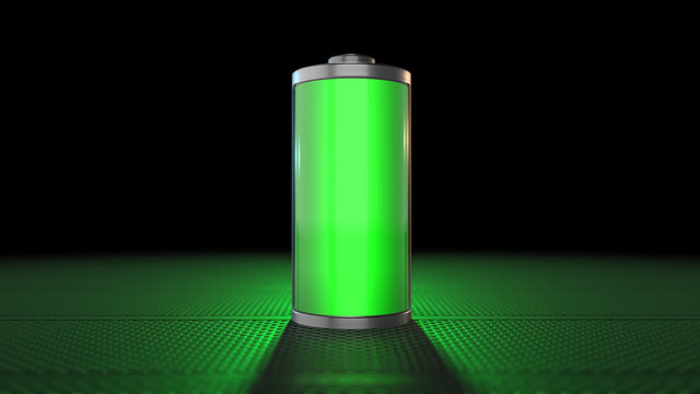Green battery power with fast recharge source of green electricity - 3D render graphic