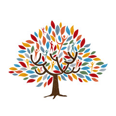 Wall Mural - Tree with people for family or community concept