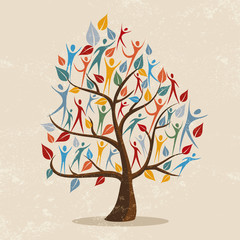 Wall Mural - Family tree concept illustration with people icon