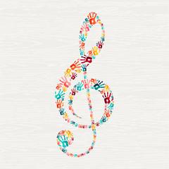 Human hand print music note shape concept