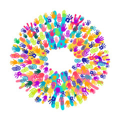 Hand print circle concept for teamwork help