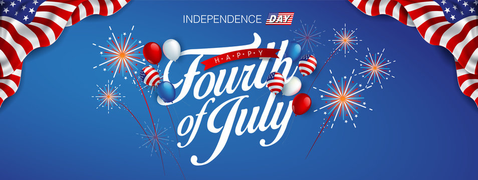 Independence day USA banner template american balloons flag and Colorful Fireworks decor.4th of July celebration poster template.fourth of july voucher discount.Vector illustration .