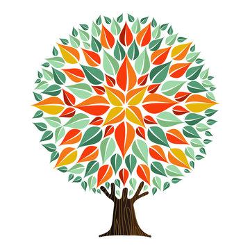 Tree mandala leaf art with autumn leaves