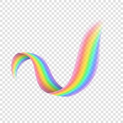Realistic curved rainbow on transparent background. Isolated vibrant element for design. Abstract rainbow vector illustration. Colorful natural phenomenon after rain. Light and bright colors spectrum.