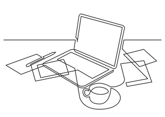 continuous line drawing of laptop computer papers and cup of tea