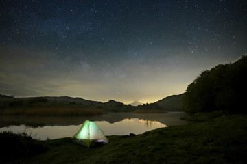 Starry Night On Wild Camp By The Lake, Sicily
