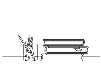 continuous line drawing of books and pencils