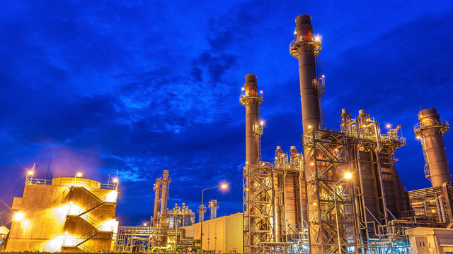 Oil and gas industry - Petrochemical factory, Industrial zone and petrochemical plant at sunset