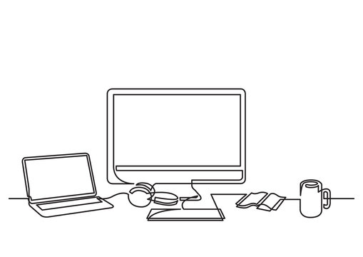 continuous line drawing of desktop computer laptop and mug