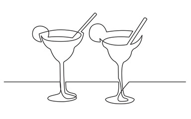 continuous line drawing of two cocktail drinks