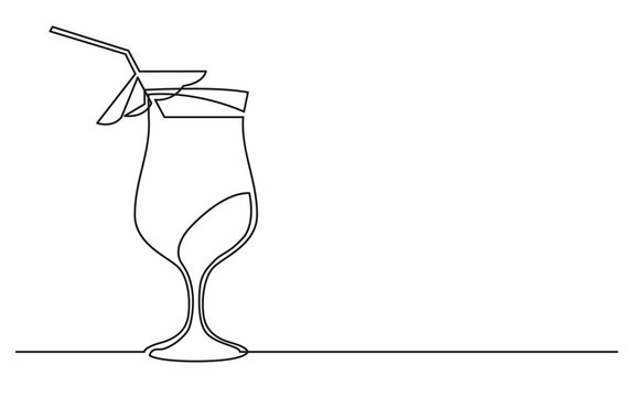 continuous line drawing of exotic cocktail drink