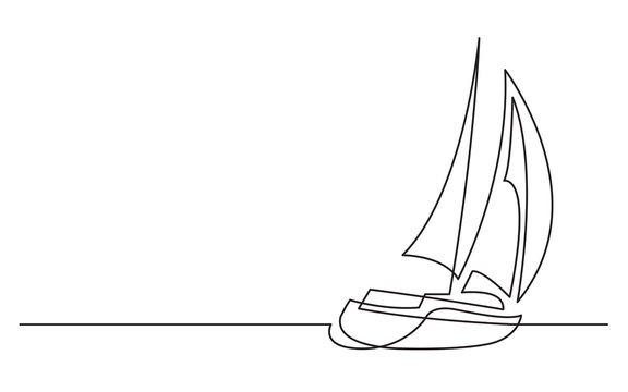 continuous line drawing of sailing boat