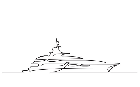 continuous line drawing of luxury yacht