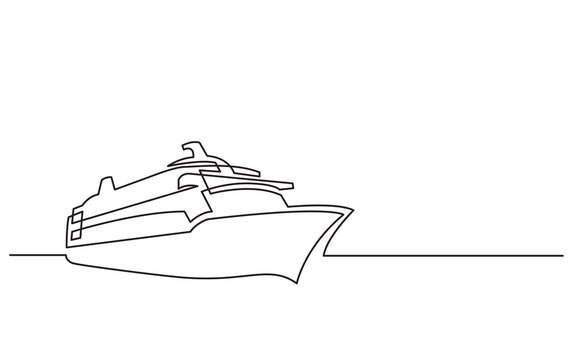 continuous line drawing of cruise ship