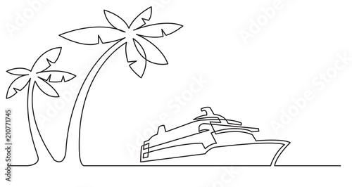 Continuous Line Drawing Of Palm Trees And Cruise Ship Stock Image