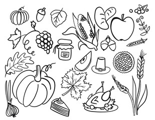 vector Illustration set of doodle elements of thanksgiving celebration harvest and icons isolated on white