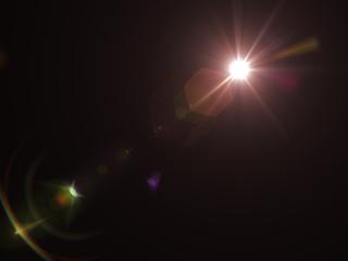 Lens flare effect on dark background. Digital illustration.
