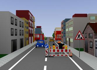 Stadtansicht mit Baustelle. 3d render