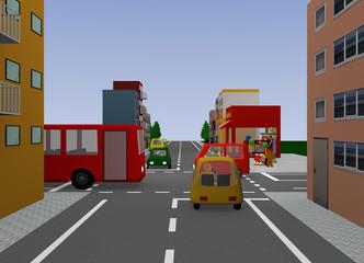 Stadtansicht mit Kreuzung. 3d render