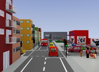Stadtansicht mit Ampelkreuzung. 3d render