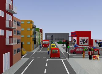 Stadtansicht mit Verkehrssituation: Verkehrsregelung durch einen Polizisten. 3d render
