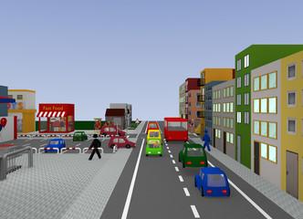 Stadtansicht mit Kreuzung und Verkehrsschild Vorfahrtsstraße. 3d render