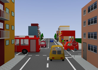 Kreuzung mit Stoppschild. 3d render