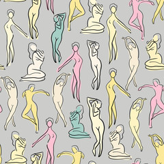 Seamless pattern with women silhouettes. female nude body pattern. sketch.