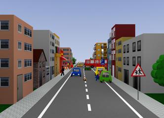 Stadtansicht mit Verkehrssituation: Spielende Kinder. 3d render