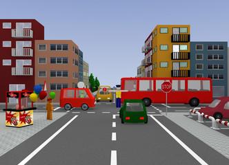 Kreuzung mit Verkehrsregelung durch einen Polizisten. 3d render