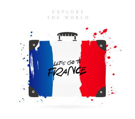 Suitcase with the flag of France. Lettering.